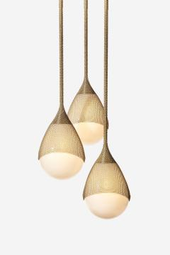 Konekt Armor Pendant Light in Satin Brass with Hand Blown Glass and Chainmail - 957676