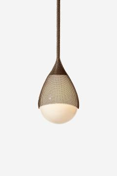 Konekt Armor Pendant Light in Satin Brass with Hand Blown Glass and Chainmail - 957678