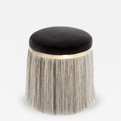 Konekt Thing 1 Horse Hair Brass and Velvet Stool or Pouf - 433497
