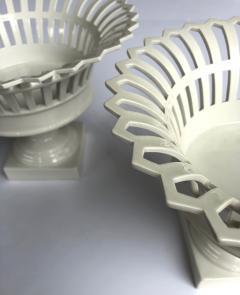 Konigliche Porzellan Manufaktur KPM Good Pair of German KPM White glazed Pierced Lattice Porcelain Compotes - 1448019