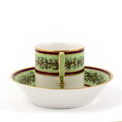 Konigliche Porzellan Manufaktur KPM KPM EMPIRE PORCELAIN CUP AND SAUCER DECORATED WITH A GREEN FLOWER BORDER - 1645805