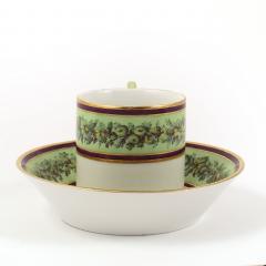 Konigliche Porzellan Manufaktur KPM KPM EMPIRE PORCELAIN CUP AND SAUCER DECORATED WITH A GREEN FLOWER BORDER - 1645806