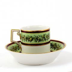 Konigliche Porzellan Manufaktur KPM KPM EMPIRE PORCELAIN CUP AND SAUCER DECORATED WITH A GREEN FLOWER BORDER - 1645807