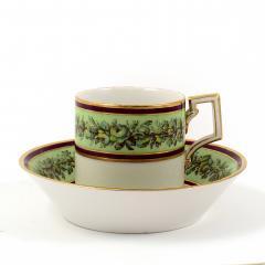 Konigliche Porzellan Manufaktur KPM KPM EMPIRE PORCELAIN CUP AND SAUCER DECORATED WITH A GREEN FLOWER BORDER - 1645808