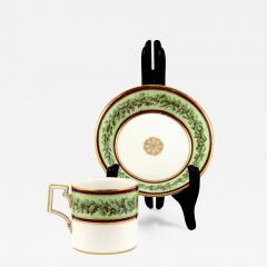 Konigliche Porzellan Manufaktur KPM KPM EMPIRE PORCELAIN CUP AND SAUCER DECORATED WITH A GREEN FLOWER BORDER - 1648100