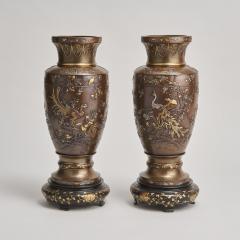 Kumagaya A pair of antique Japanese multi metal Bronze vases by Kumagaya - 1269812