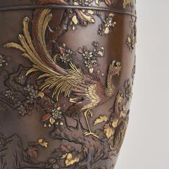 Kumagaya A pair of antique Japanese multi metal Bronze vases by Kumagaya - 1269814