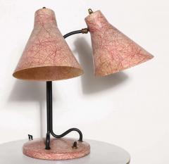 Kurt Versen Kurt Versen Style Black Loop Desk Lamp with Two Pink Fiberglass Shades 1950s - 1699003