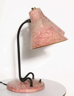 Kurt Versen Kurt Versen Style Black Loop Desk Lamp with Two Pink Fiberglass Shades 1950s - 1699009