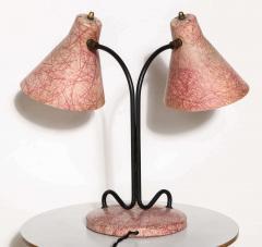 Kurt Versen Kurt Versen Style Black Loop Desk Lamp with Two Pink Fiberglass Shades 1950s - 1699018