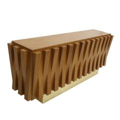 L A Studio L A Studio Faceted Oak Wood And Brass Italian Sideboard - 857993