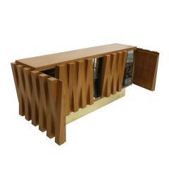 L A Studio L A Studio Faceted Oak Wood And Brass Italian Sideboard - 857995