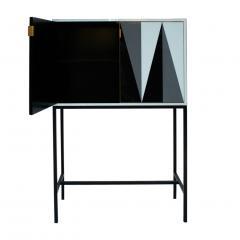 L A Studio L A Studio Modern Solid Wood and Colored Glass Italian Cabinet - 955624