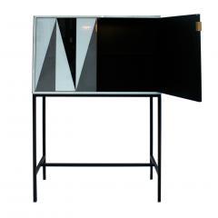 L A Studio L A Studio Modern Solid Wood and Colored Glass Italian Cabinet - 955626