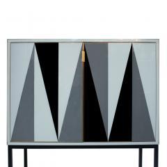 L A Studio L A Studio Modern Solid Wood and Colored Glass Italian Cabinet - 955627