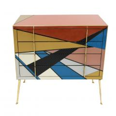 L A Studio Mid Century Modern Style Murano Colored Glass and Brass Italian Commode - 1059155