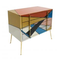 L A Studio Mid Century Modern Style Murano Colored Glass and Brass Italian Commode - 1059156
