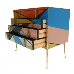 L A Studio Mid Century Modern Style Murano Colored Glass and Brass Italian Commode - 1059157