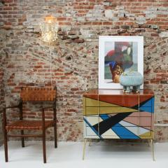L A Studio Mid Century Modern Style Murano Colored Glass and Brass Italian Commode - 1059165