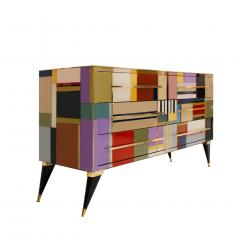 L A Studio Mid Century Modern Style Murano Glass and Brass Italian Sideboard by L A Studio - 1213891