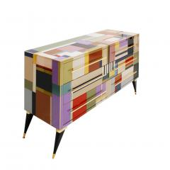 L A Studio Mid Century Modern Style Murano Glass and Brass Italian Sideboard by L A Studio - 1213892