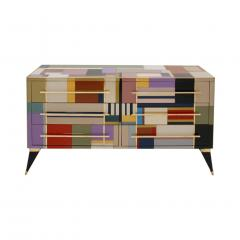 L A Studio Mid Century Modern Style Murano Glass and Brass Italian Sideboard by L A Studio - 1213895