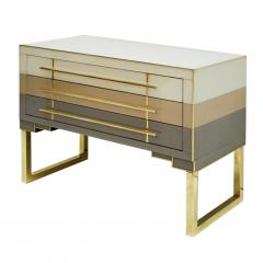 L A Studio Mid Century Modern Style Murano Glass and Brass Pair of Italian Commodes - 1025117