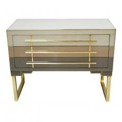 L A Studio Mid Century Modern Style Murano Glass and Brass Pair of Italian Commodes - 1025118