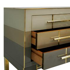 L A Studio Mid Century Modern Style Murano Glass and Brass Pair of Italian Commodes - 1025123