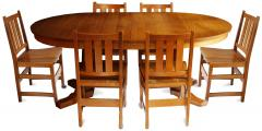L J G Stickley Inc Andy Warhols Six Stickley Dining Chairs from the Factory and Extending Table - 516782
