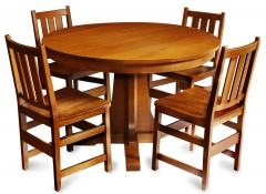 L J G Stickley Inc Andy Warhols Six Stickley Dining Chairs from the Factory and Extending Table - 516787