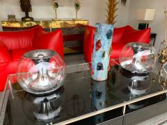 LUCI Pair of Ball Lamps Metal and Glass T417 by Luci Italy 1970s - 1449550