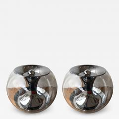 LUCI Pair of Ball Lamps Metal and Glass T417 by Luci Italy 1970s - 1451827