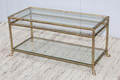 La Barge 1950s Solid Brass Faux Bamboo Italian Coffee Table - 1615918