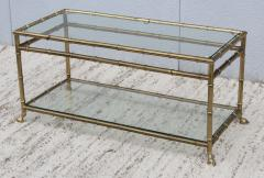 La Barge 1950s Solid Brass Faux Bamboo Italian Coffee Table - 1615922