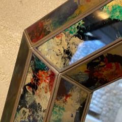 La Barge 1970s Octagonal Wall Mirror Beveled Eglomise Colorful Frame La Barge Modern - 2030571