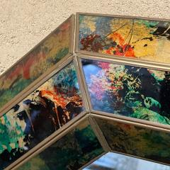 La Barge 1970s Octagonal Wall Mirror Beveled Eglomise Colorful Frame La Barge Modern - 2030574