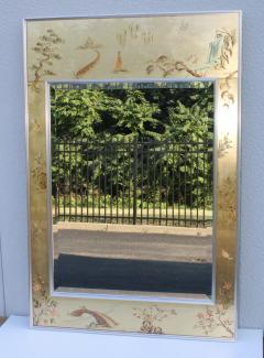 La Barge La Barge Mid Century Modern Hand Painted Chinoiserie Mirror - 1067112