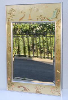 La Barge La Barge Mid Century Modern Hand Painted Chinoiserie Mirror - 1067116