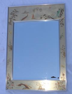 La Barge La Barge Mid Century Modern Hand Painted Chinoiserie Mirror - 1067117