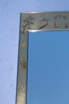 La Barge La Barge Mid Century Modern Hand Painted Chinoiserie Mirror - 1067123