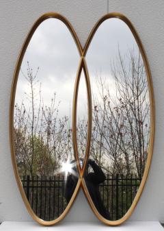 La Barge Mid Century Modern Interlocking Oval Gold Leaf Mirror - 1368115