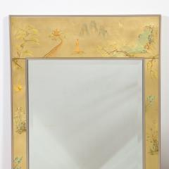 La Barge Mid Century Modern Rectangular La Barge Hand Painted glomis Chinoiserie Mirror - 1733352