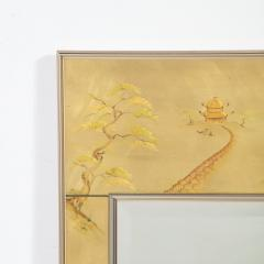 La Barge Mid Century Modern Rectangular La Barge Hand Painted glomis Chinoiserie Mirror - 1733353