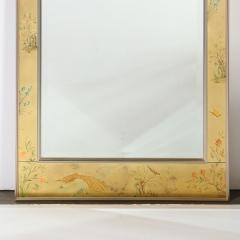 La Barge Mid Century Modern Rectangular La Barge Hand Painted glomis Chinoiserie Mirror - 1733354