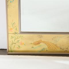La Barge Mid Century Modern Rectangular La Barge Hand Painted glomis Chinoiserie Mirror - 1733357