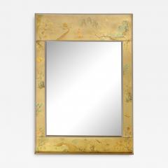 La Barge Mid Century Modern Rectangular La Barge Hand Painted glomis Chinoiserie Mirror - 1734235