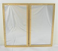 La Barge Pair of Faux Bamboo Gilt and Mirrored Frame Mirrors - 2124425