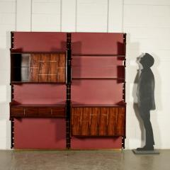 La Permanente Mobili Cant Bookcase La Permanente Mobili Cant Rosewood Brass Leatherette 1950s - 1980539