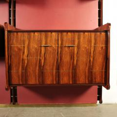 La Permanente Mobili Cant Bookcase La Permanente Mobili Cant Rosewood Brass Leatherette 1950s - 1980548